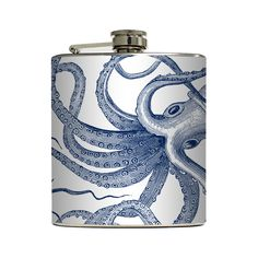We dare you to try and tear the Octopi Flask from our tentacles. Each stainless steel flask is unique, featuring a hand-applied vinyl octopus design. Unscrew the lid and fill the flask with up to 6 oz ...  Find the Octopi Flask, as seen in the Nautical Explorer Collection at http://dotandbo.com/collections/nautical-explorer?utm_source=pinterest&utm_medium=organic&db_sku=106290