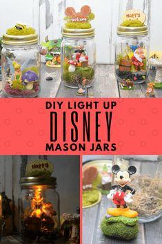 Make a DIY Light Up Disney Mason Jar with your favorite characters for a nightlight for you or the kids with Disney characters. Mason Jar Garden, Mason Jars, Mason Jar Crafts, New Girl, Flower Bed Decor, Disney Garden, Disney Diy Crafts, Disney Rooms, Disney Fun