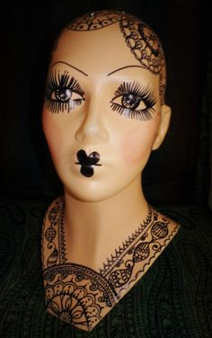 Original Handpainted pin up henna india flapper art deco inspired Mannequin doll display fashion head.