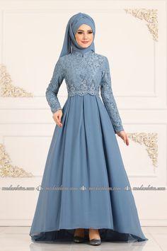ModaSelvim Pileli Peplum Abiye 8784W153 Mavi Hijab Evening Dress, Evening Dresses, Long Dresses, Muslimah Wedding Dress, Wedding Dresses, Ways To Tie Scarves, School Dance Dresses, Couture Skirts, Beautiful Muslim Women