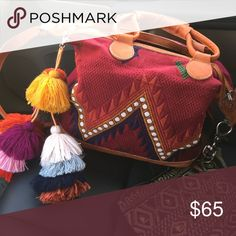 ✨ FLASH 1 HOUR SALE! BOHO Leather textile satchel! Incredible handmade textile handbag. Satchel/crossbody. Genuine leather straps. Beautiful maroon color. Great condition. Very similar to Nena & Co. and Humble Hilo and Free People handbags. Also made in Guatemala. Black and fuchsia tassel in pic included! Free People Bags Crossbody Bags