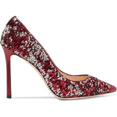 Jimmy Choo Romy 100 sequined metallic leather pumps (13.530 CZK) ❤ liked on Polyvore featuring shoes, pumps, heels, zapatos, jimmy choo, stiletto pumps, red high heel pumps, red sparkly pumps, red sequin pumps and high heel shoes