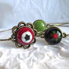 Bracelet Set Bohemian Stacking Bangles Fused Glass by PamelaAngus