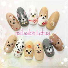 Dog Nail Art, Animal Nail Art, Dog Nails, Kawaii Nail Art, Cute Nail Art, Cute Nails, Animal Nail Designs, Cool Nail Designs, Fancy Nails