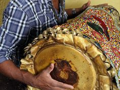 cuban bata drums | batá drum covered by a beaded banté (drum cover) made by Ezequiel