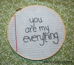 A little (Embroidered) note.  This would be a fun idea to incorporate into my crazy quilt.