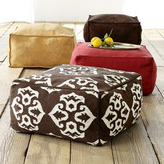 "The Bean bag Cube | The Ochre elephant Okay, I read the instructions and wonder, why not overlap or use one long piece 24""+ 12""+ 24 ""+12 and then you would have a "" t"" instead of a ""+""  and only have to sew on the 2 12"" x24"" pieces and zipper?"
