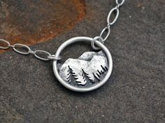 Learn more about ** Mountain Trees Landscape Necklace - Circle Nature Pendant - Sterling Silver Metalwork - Everyday Necklace