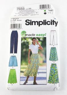 SIMPLICITY 7655 Misses Skirt, Pants & shorts Pattern Size XS-SM  UNCUT  6-16 #Simplicity #SkirtShortsPants #sewing