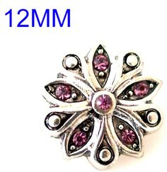 Pink Rhinestone Flower 12mm Mini Petite Snap Charm For Ginger Snaps Jewelry #Handmade #Interchangeable