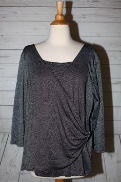Choices Woman 1X Plus Size Silver Metallic Surplice 3/4 Sleeve Dress Top Blouse    eBay