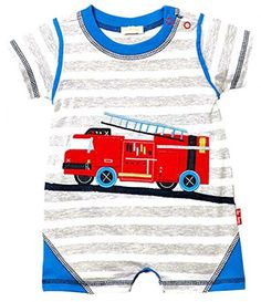 LeTop Babybpys Stripe Fire Truck Romper 3 Months *** Learn more by visiting the image link.
