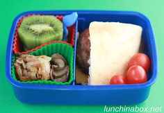 Contents of preschooler bento lunch: Mini cheeseburger with cheddar cheese in pita bread, caramelized onions, sauteed mushrooms, kiwifruit, and cherry tomatoes.
