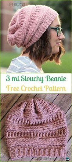 Crochet Beanie Ideas Crochet 3 ml Slouchy Beanie Hat Free Patterns -Crochet Slouchy Beanie Hat Free Patterns - Bonnet Crochet, Crochet Motifs, Free Crochet, Knit Crochet, Crochet Hats, Crochet Winter, Crochet Beanies For Men, Funny Crochet, Crochet Slouchy Hat