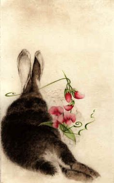 'Rabbit with Sweet Peas' by C. C. Barton, hand watercolored etching.