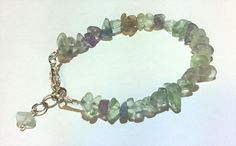Fluorite Chip and Silver-Plated Beaded Bracelet Handmade with