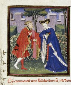 """Lover telling of his love to his lady in a garden. In BL Harley MS 4431 fol. 376: """"The Book of the Queen"""" (various works of Christine de Pizan), c. 1410-14 (Paris), made for Isabeau of Bavaria, Queen of France. Presented to her as a New Year's gift, Jan 1414. Later owned by John, Duke of Bedford; his wife, Jacquetta of Luxembourg; her son by her 2nd husband, Anthony Woodville, 2nd Earl Rivers; Louis de Gruthuyse; Henry Cavendish, duke of Newcastle."""