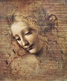 Head of a Young Woman with Tousled Hair or, Leda (gouache on wood) Vinci, Leonardo da (1452-1519) / Galleria Nazionale, Parma, Italy / The Bridgeman Art Library