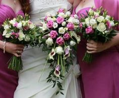A fresh shower bouquet created using the lovely picasso calla lilies, with a combination of ivory and dusky pink roses. www.am-flowers.co.uk