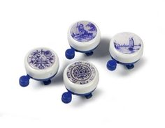 delft blue bicycle bell. Visit shop.holland.com for contemporary Dutch Design & Gifts and bicycle belts  with decor of Dutch masterpieces by Vincent van Gogh