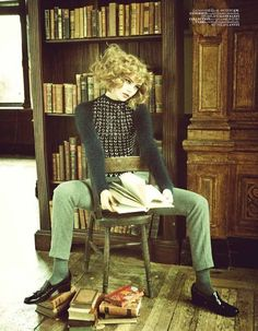 uju Ivanyuk reads among books. Kolejli ve Soylu, Vogue Turkey, September 2011. Photography: Ellen von Unwerth.