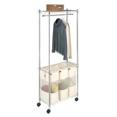 "Whitmor Supreme Laundry Sorter with Garment Rack - Chrome.  From target 30"". X 14"". Doesn't take much space and you can Han your shirts to dry"