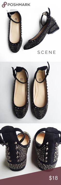 • scene spiked flats • condition: pre-owned. these are in great condition with no major signs of wear. all spikes and studs are in tact. these have a minor heel to them as shown in pictures. Scene Shoes Flats & Loafers