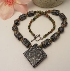 Polymer clay necklace - made with scrap clay - by Nee Nee Ree Beads