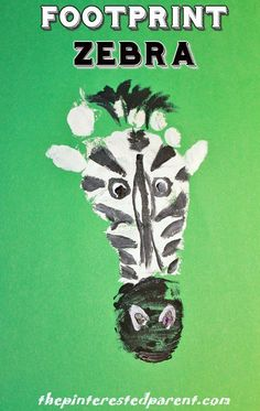 Footprint Zebra! A fun personal craft for kids to make during a safari or zoo theme or for the Letter of the Week is Z theme!