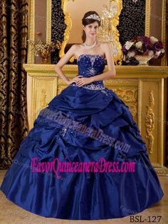 Ball Gown Strapless Taffeta Dark Blue Quinceanera Dress with Appliques