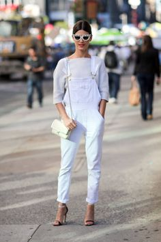 Hanneli Mustaparta goes for a clean slate in FRAME denim overalls, keeping her whole look pristine and white. via StyleList