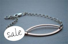 Sterling Silver Bracelet, Rose Gold Leaf, Chain Bracelet, Simple Bracelet, Layering Bracelet, Handmade, Jewellery