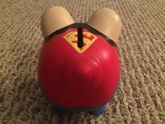 Superman Man of Steel Hand Painted Ceramic Piggy Bank Medium