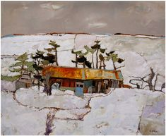 Woodcutters Shed And Pines, Winter, Cairngorm - David Smith RSW www.davidsmithart.org
