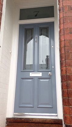 Vicki's 'RAF Blue' Grand Victorian front door with Etched glazing in Timperley - www.grandvictorian.co.uk