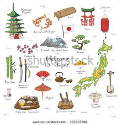 Hand drawn doodle Welcome to Japan set. Vector illustration. Sketchy Japanese related icons, Japan elements, map, pagoda, umbrella, sumo, sake, samurai, Fuji, food, sakura
