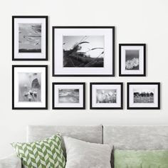 Brayden Studio Goin 7 Piece Build a Gallery Wall Picture Frame Set Colour: Grey Gallery Wall Layout, Gallery Wall Frames, Frames On Wall, Photo Gallery Walls, Stairway Gallery Wall, Gallery Frame Set, White Frames, Picture Frame Sets, Wood Picture Frames