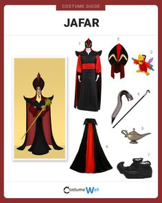 Transform yourself into Jafar, the wicked Royal Vizier to Sultan of Agrabah in the 1992 Disney animated film Aladdin. Got Costumes, Running Costumes, Disney Costumes, Cosplay Costumes, Costumes For Women, Aladdin Halloween, Family Halloween Costumes, Halloween Fancy Dress, Jafar Costume