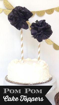 Tissue Paper Pom Pom Cake Toppers
