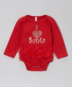 Red 'I Heart Santa' Ruffle Bodysuit - Infant