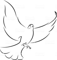 Flying White Dove - Royalty-free Animal stock vector Line Art Vector, Free Vector Art, Religious Tattoo Sleeves, All Animals Images, Catholic Crafts, Animal Body Parts, White Doves, Henna Designs, Photo Illustration