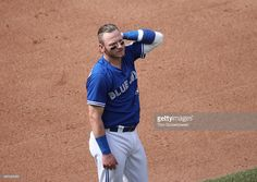 Josh Donaldson #20 of the Toronto Blue Jays at the end of the eighth inning during MLB game action against the Houston Astros on August 14, 2016 at Rogers Centre in Toronto, Ontario, Canada.