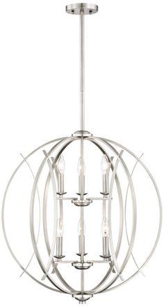 Brushed Nickel Spherical Modern Pendant Light -