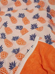 Pineapple Beach Towel Orange & Blue