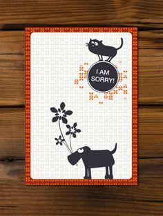 #Postkarte 'I am Sorry' mit #Hund und #Katze