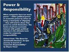 """Power & responsibility. Words from """"The Quest for Sustainable Business"""" by Wayne Visser. Painting by Wayne Visser. Copyright 2012 & 2007."""