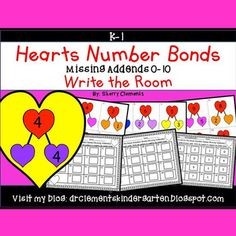50% off for 24 hrs~(until 11:59 PM EST 02/06/17) Hearts Write the Room Number bonds (Missing Addends 0-10) (Valentine's Day)This resource includes five pages of numbered heart cards in color with a total of 30 Heart cards. Each numbered heart card has a number bond with one addend missing.