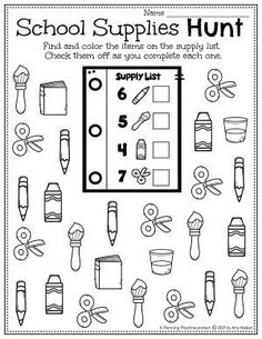 Find, Color, & Count the Number of each school supply. - Back to School Preschool Worksheets Preschool Binder, Preschool Age, Preschool Worksheets, Preschool Activities, Back To School Worksheets, Back To School Activities, Hands On Activities, Letter Recognition, Going Back To School