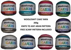 Woolcraft Cakes Knitting Wool Knits to Aran Patterns Choice of 10 Colours 200gms