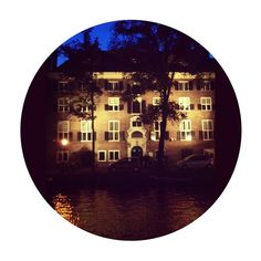 Somehow reminded me to Magritte's Empire of Light #magritte #light #night #Amsterdam #Netherlands #Nederland #Holland #canal #reflection #house #facade
